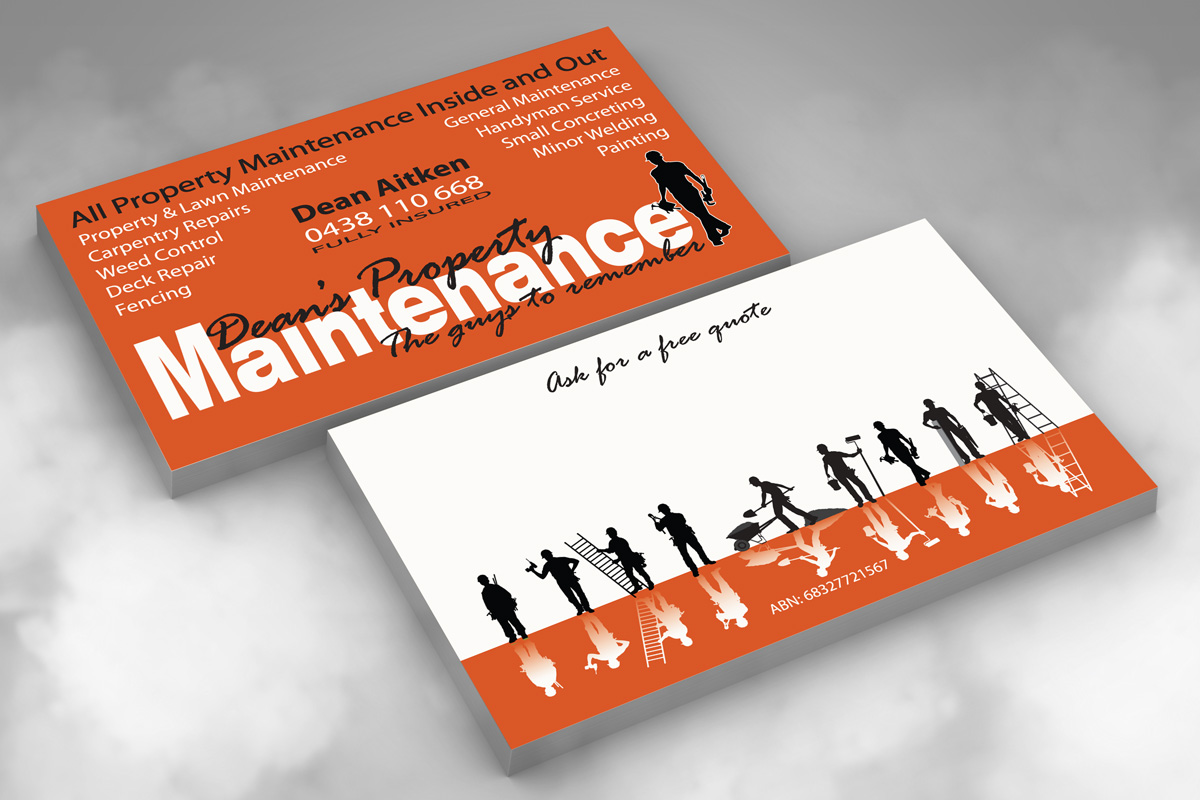 Card designs fox graphix for Property maintenance business cards